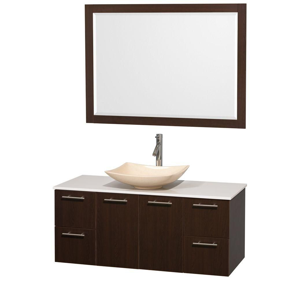 Amare 48-inch W Vanity in Espresso with Solid Top with Ivory Basin and Mirror