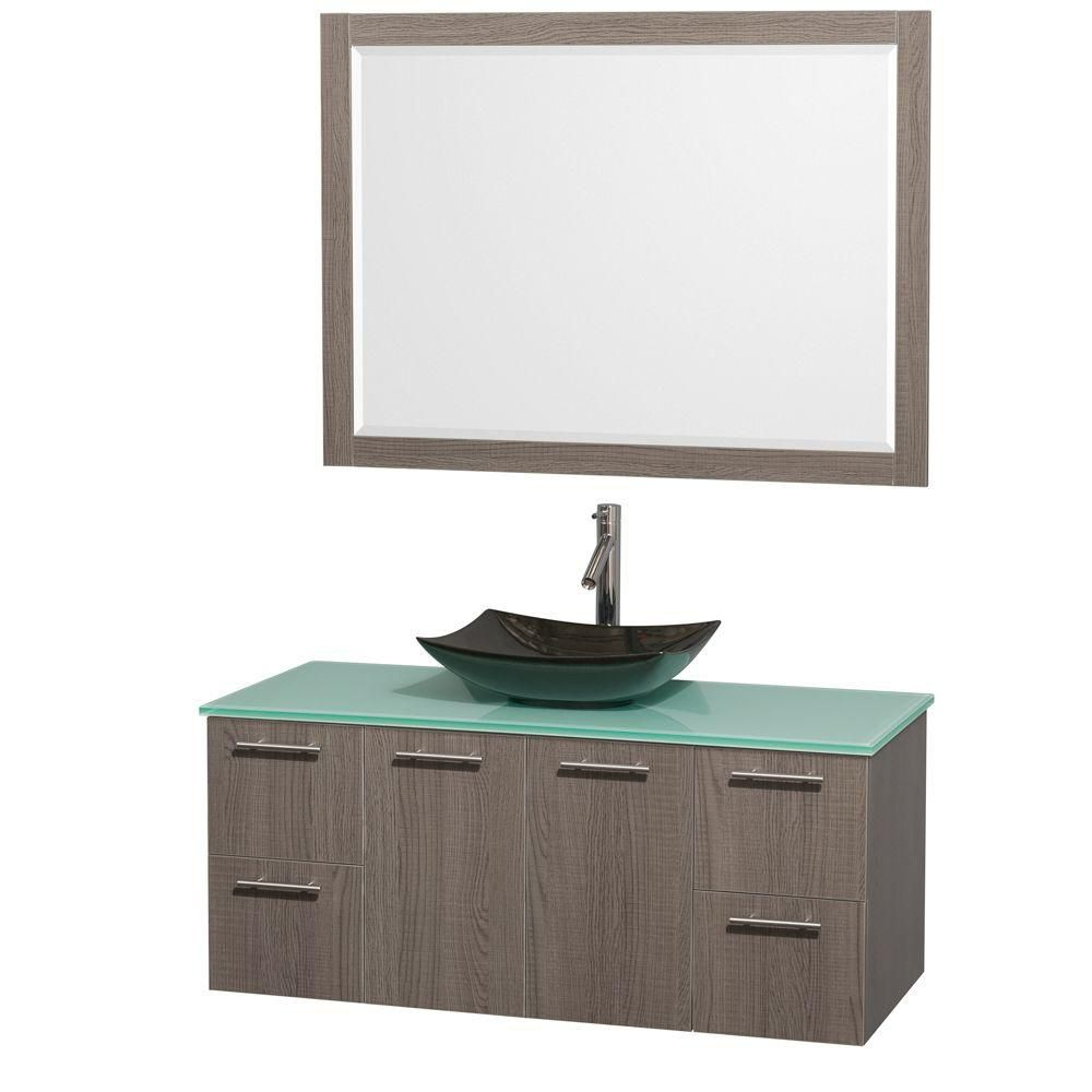 Amare 48-inch W Vanity in Grey Oak with Glass Top with Black Basin and Mirror