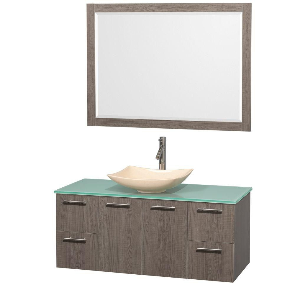 Amare 48-inch W Vanity in Grey Oak with Glass Top with Ivory Basin and Mirror
