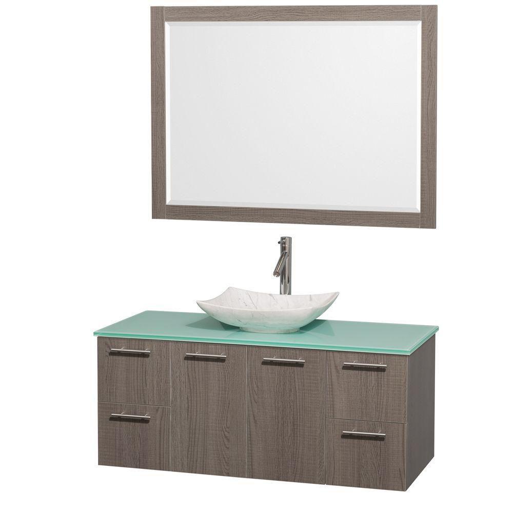 Amare 48 po Meuble chêne gris et revêtement en verre effet eau et évier en marbre de Carrare