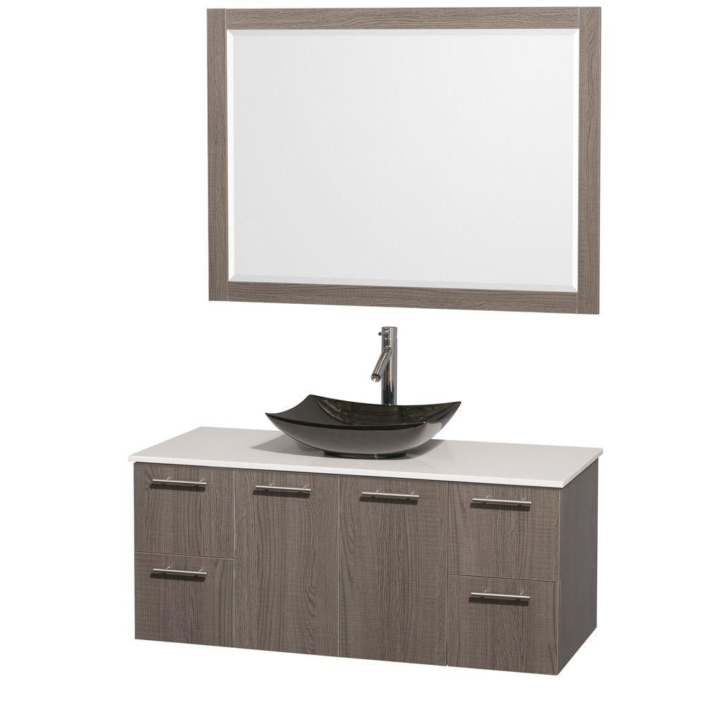 Amare 48-inch W Vanity in Grey Oak with Solid Top with Black Basin and Mirror