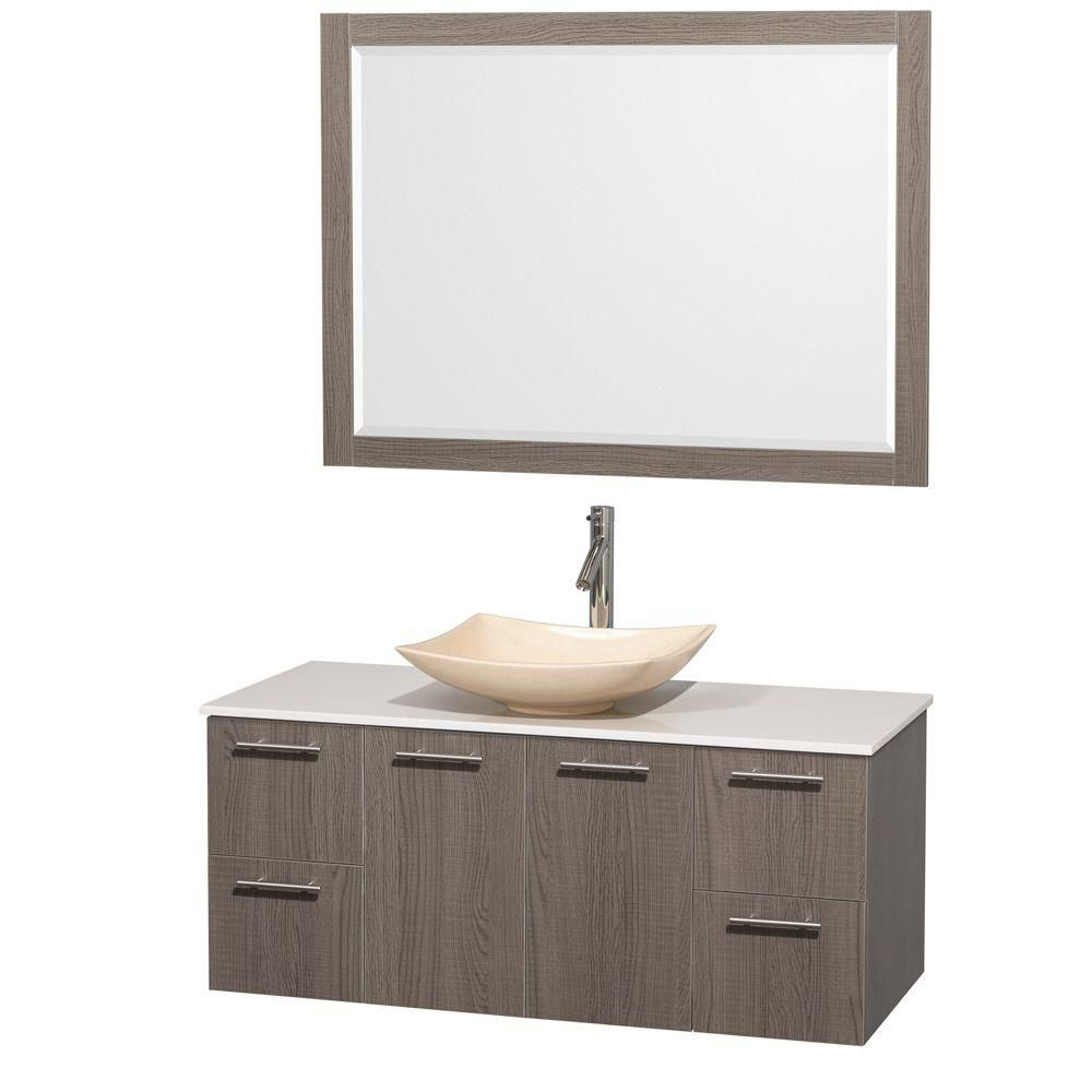 Amare 48-inch W Vanity in Grey Oak with Solid Top with Ivory Basin and Mirror