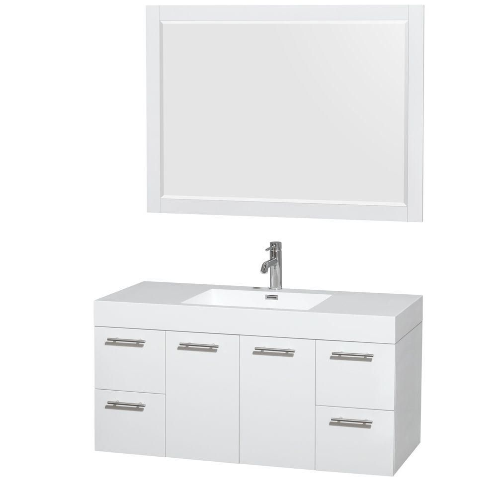 Amare 48-inch W Vanity in White with Resin Top with Basin and Mirror