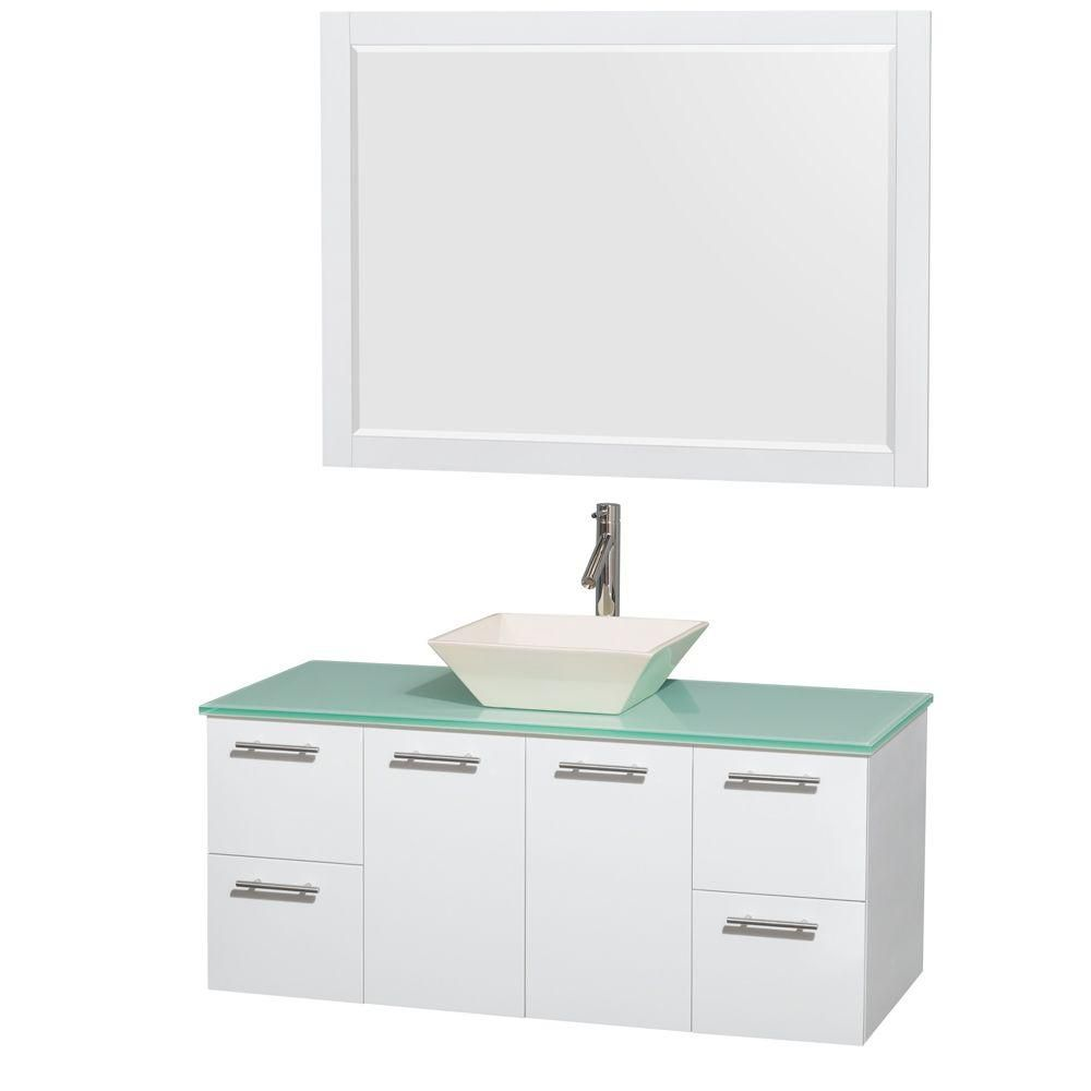 Amare 48-inch W Vanity in White with Glass Top with Bone Basin and Mirror