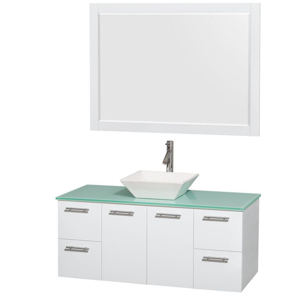 Wyndham Collection Amare 48-inch W 4-Drawer 2-Door Wall Mounted Vanity in White With Top in Green With Mirror