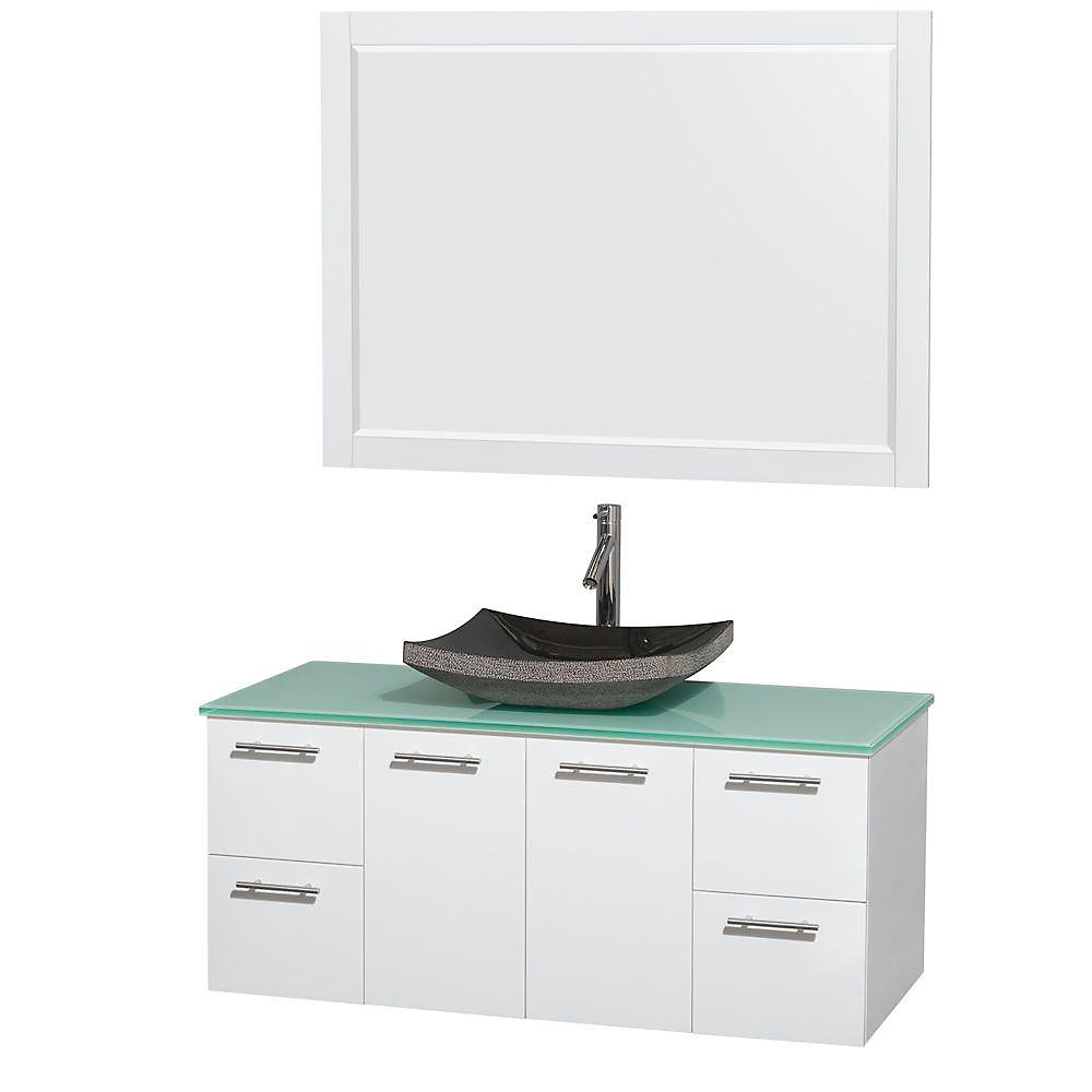 Amare 48-inch W 4-Drawer 2-Door Wall Mounted Vanity in White With Top in Green With Mirror