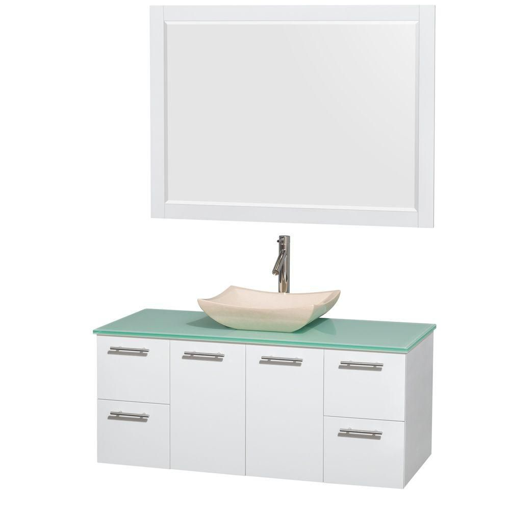Amare 48-inch W Vanity in White with Glass Top with Ivory Basin and Mirror