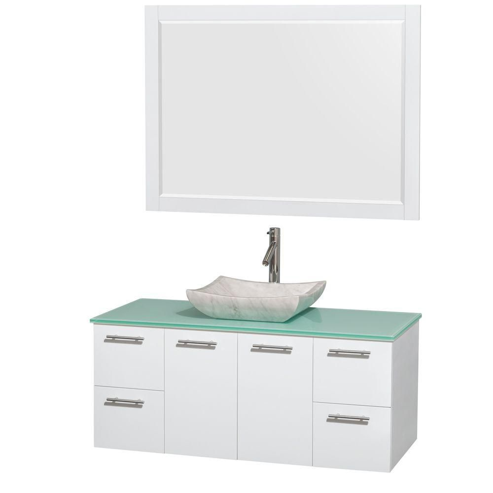 Amare 48-inch W Vanity in White with Glass Top with White Basin and Mirror