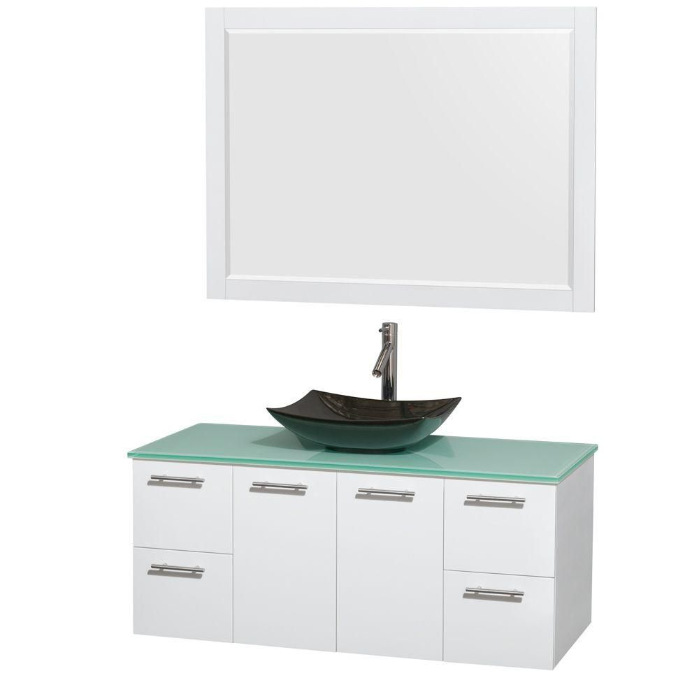 Amare 48-inch W Vanity in White with Glass Top with Black Basin and Mirror