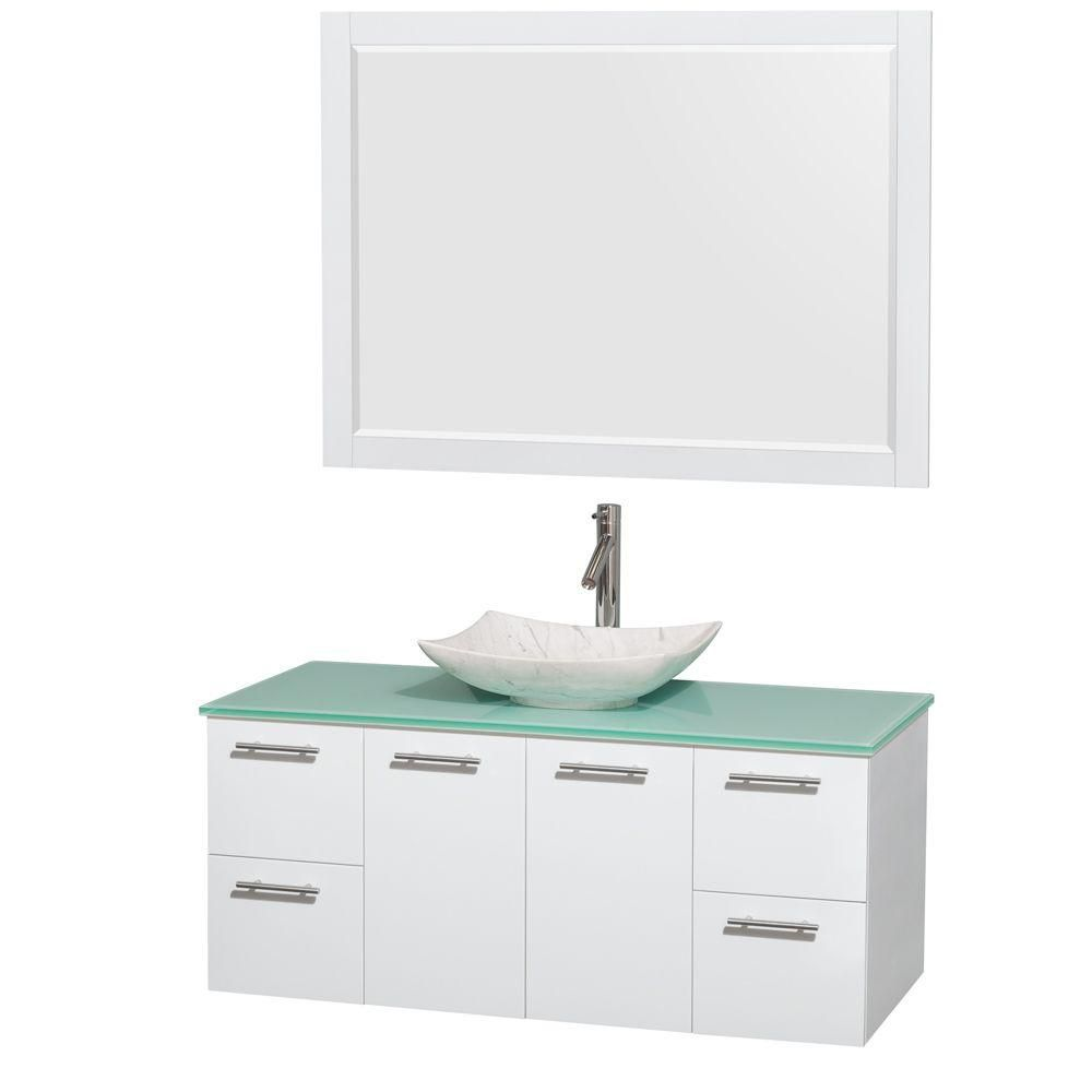 Amare 48 po Meuble laqué blanc et revêtement en verre effet eau et évier en marbre de Carrare