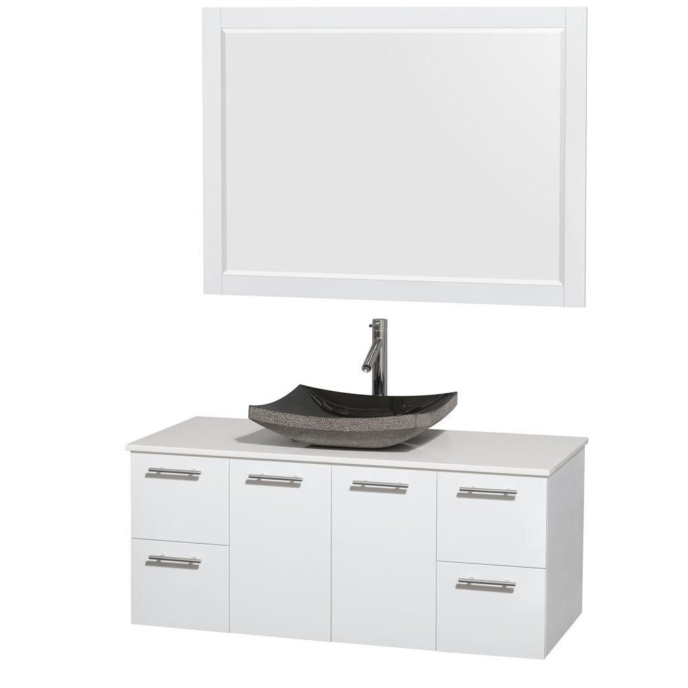 Amare 48-inch W Vanity in White with Solid Top with Black Basin and Mirror