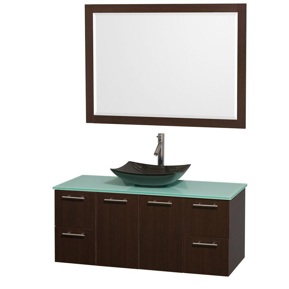 Amare 48-inch W Vanity in Espresso with Glass Top with Black Basin and Mirror