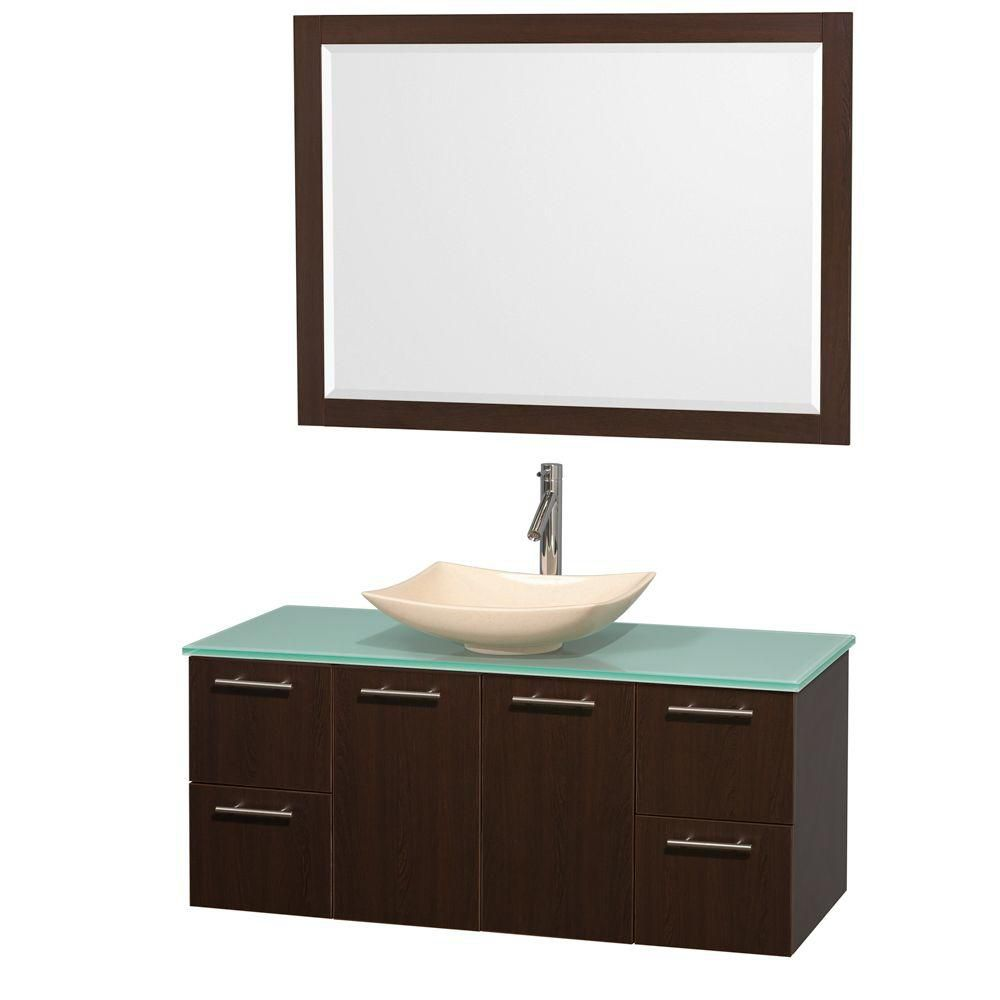 Amare 48-inch W Vanity in Espresso with Glass Top with Ivory Basin and Mirror