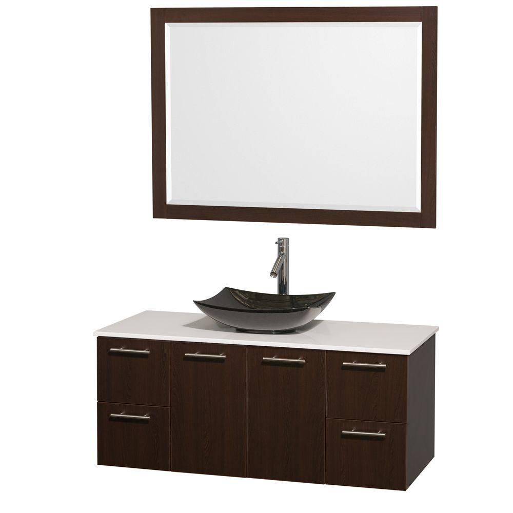 Amare 48-inch W Vanity in Espresso with Solid Top with Black Basin and Mirror