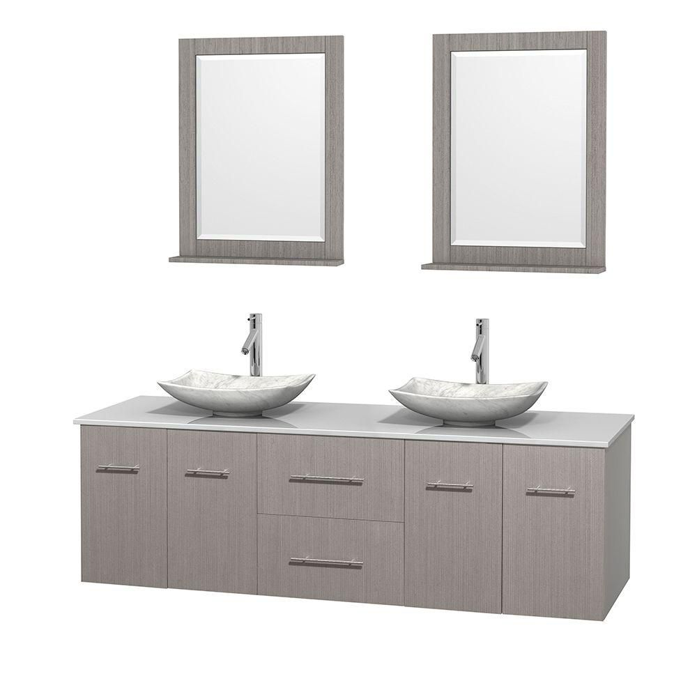 Centra 72-inch W Double Vanity in Grey Oak with Solid Top with White Basins and Mirrors