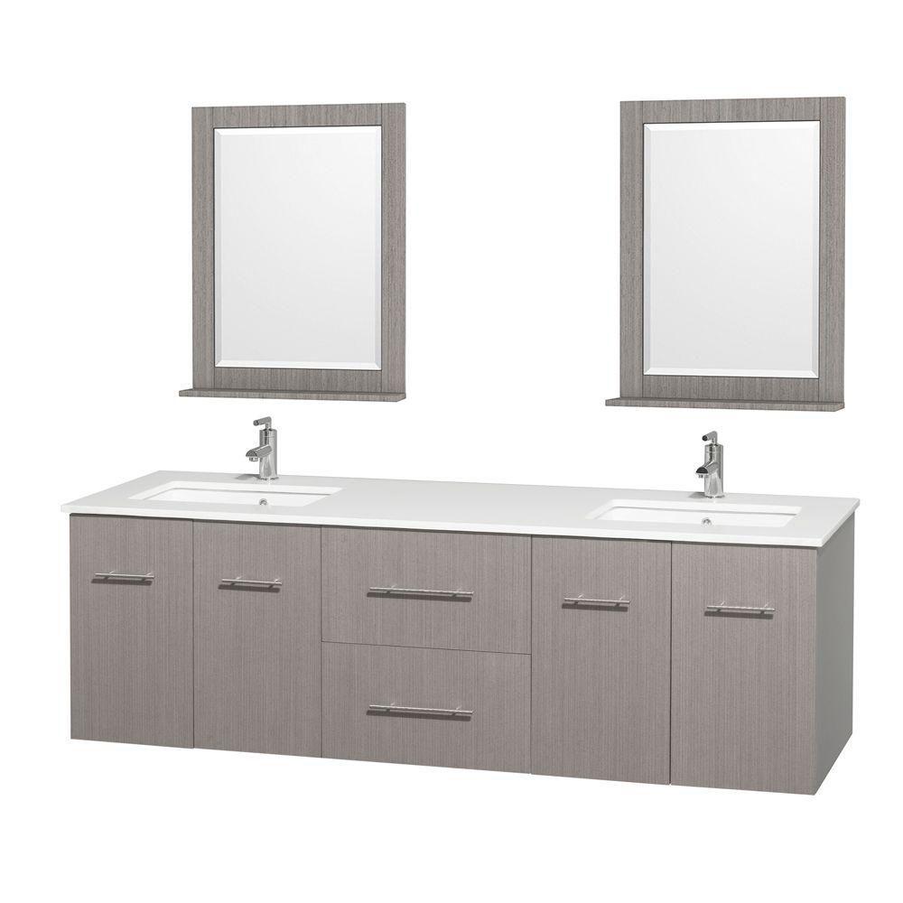 Meuble double Centra 72 po. chêne gris, comptoir solide, lavabo carré, miroir 24 po.