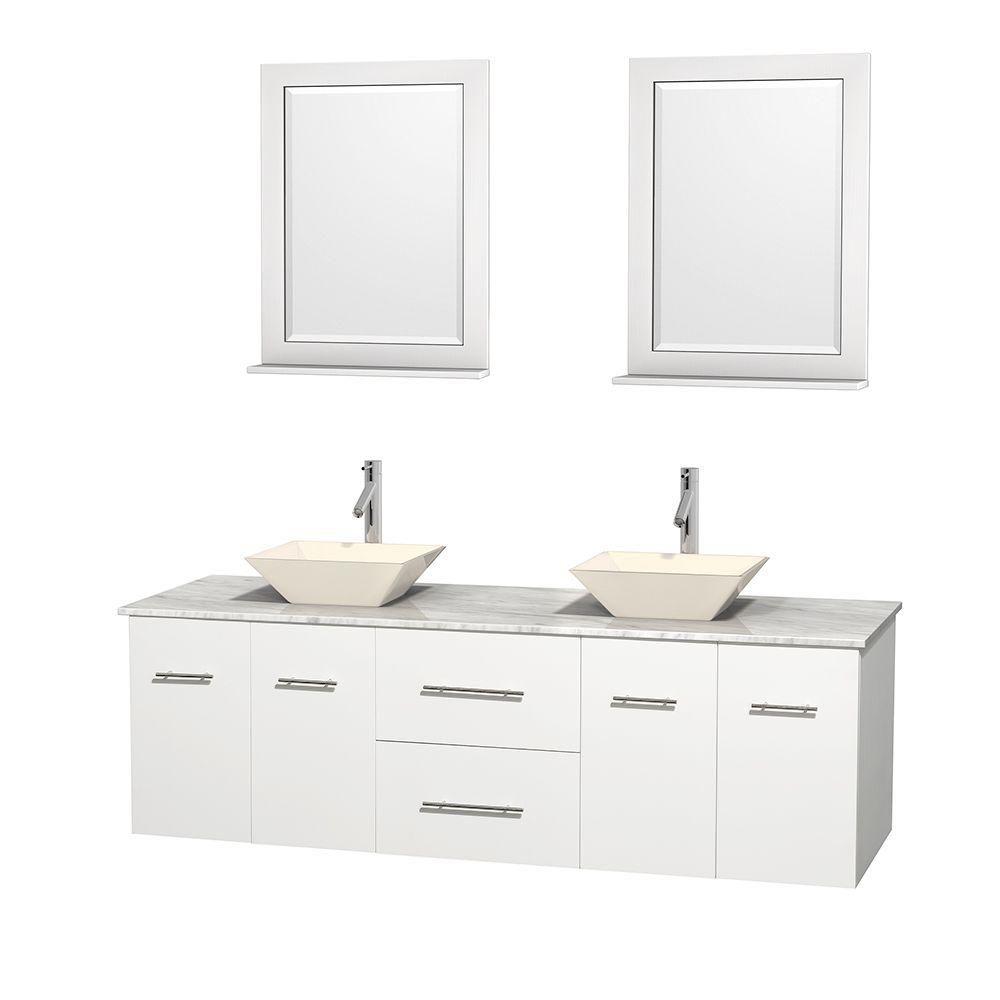Meuble double Centra 72 po. blanc, comptoir blanc Carrare, lavabos porcelaine bone, miroirs 24 po...