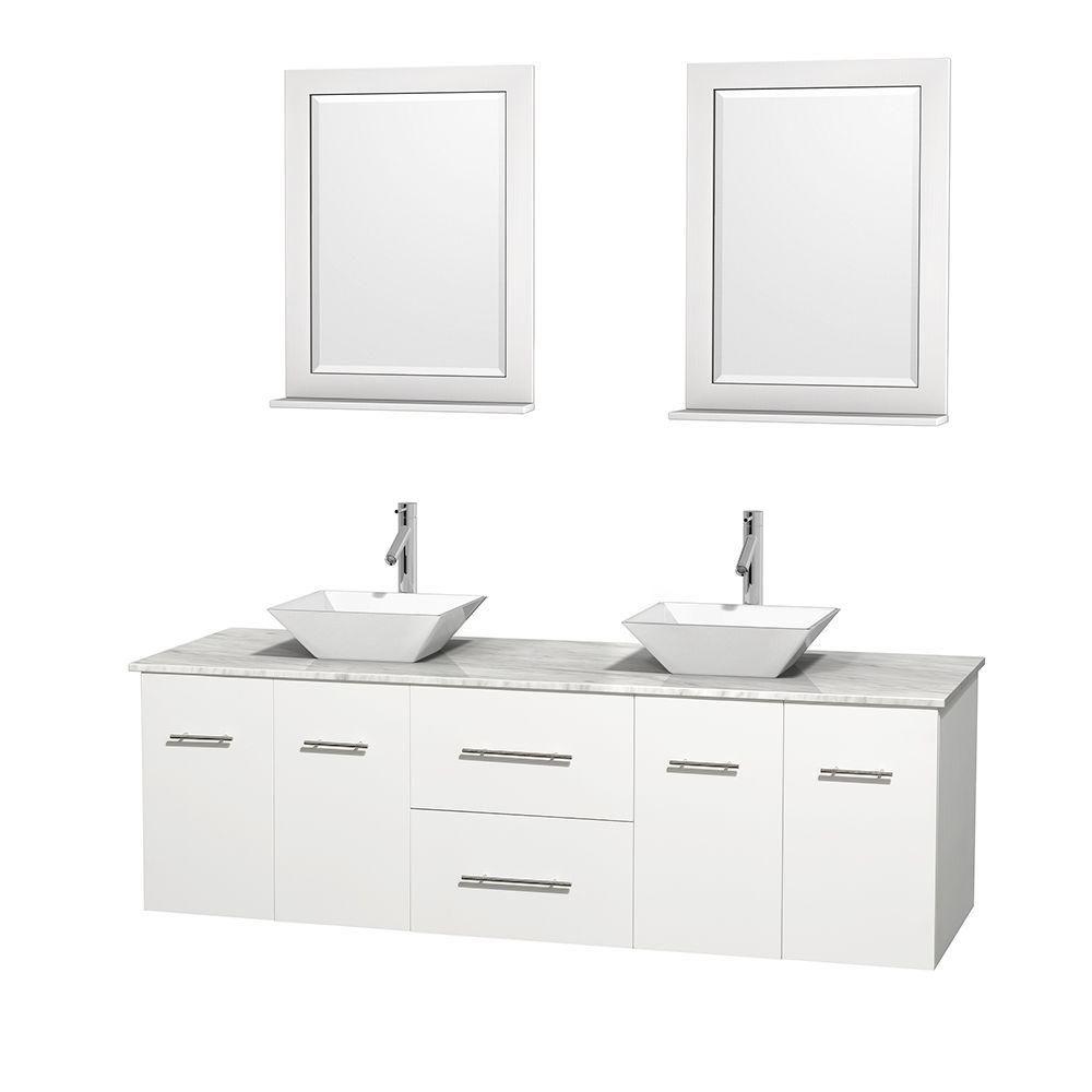 Meuble double Centra 72 po. blanc, comptoir blanc Carrare, lavabos porcelaine blanche, miroirs 24...