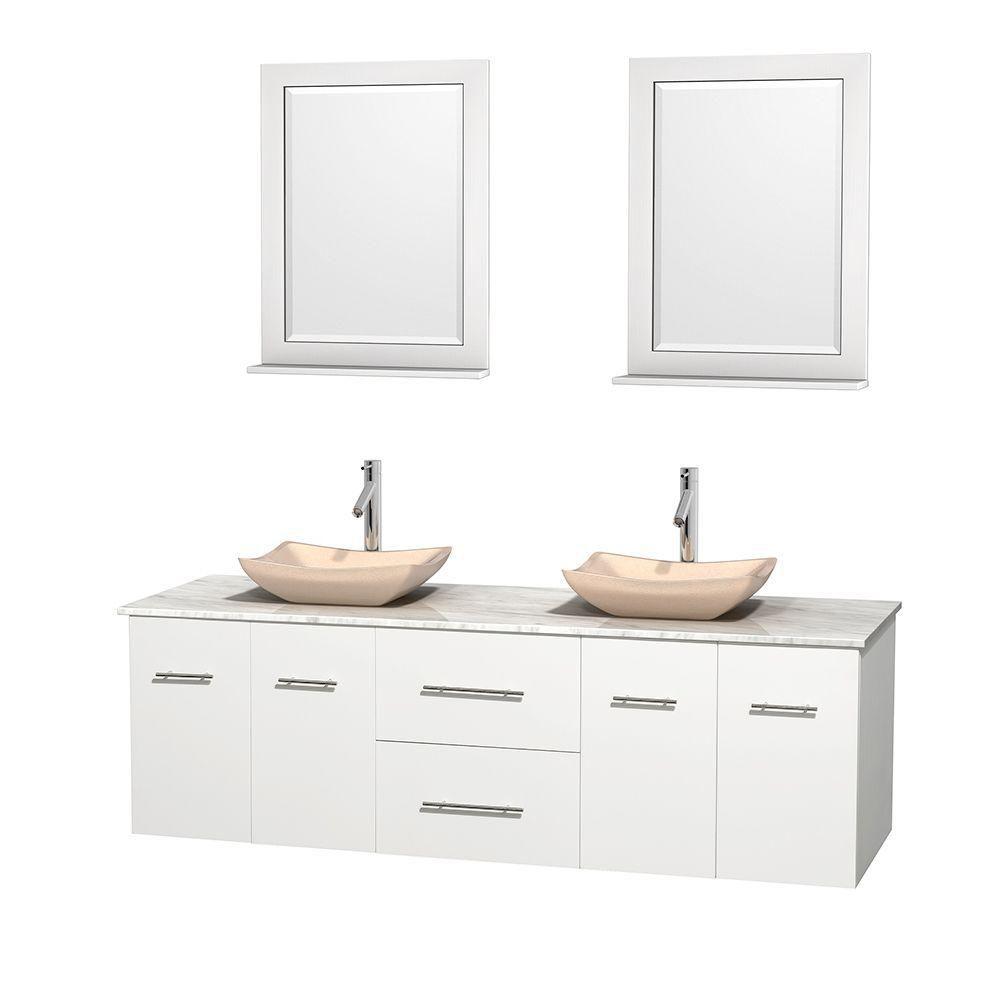 Meuble double Centra 72 po. blanc, comptoir blanc Carrare, lavabos ivoire, miroirs 24 po.