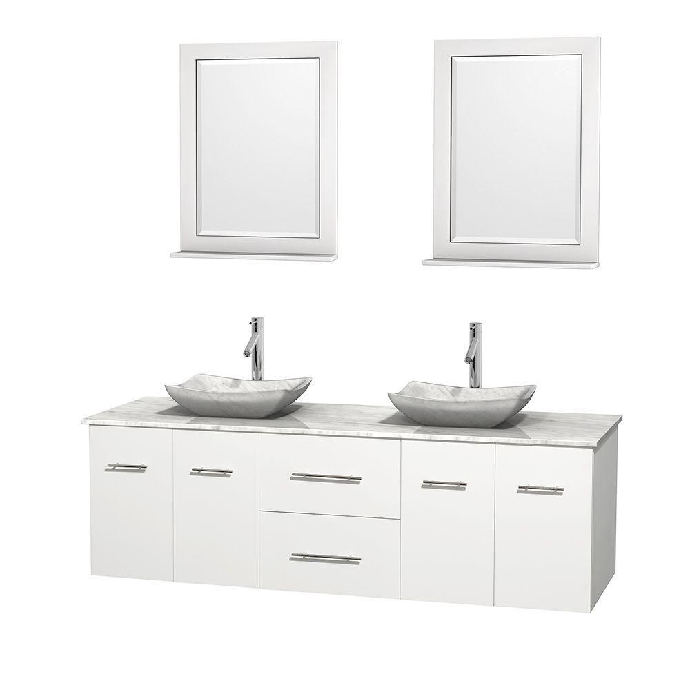 Meuble double Centra 72 po. blanc, comptoir blanc Carrare, lavabos blanc Carrare, miroirs 24 po.