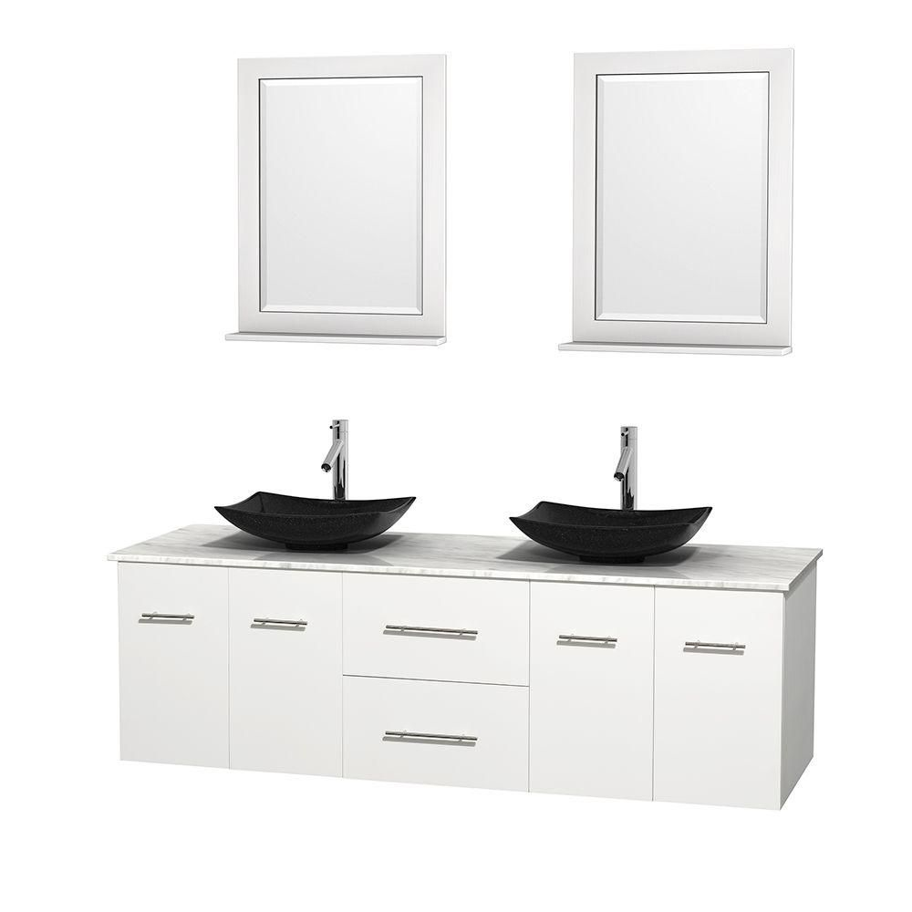 Centra 72-inch W Double Vanity in White with White Top with Black Basins and Mirrors