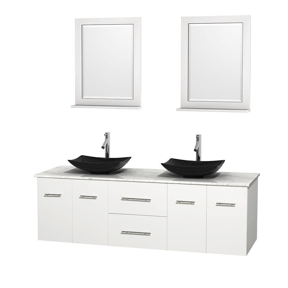 Meuble double Centra 72 po. blanc, comptoir blanc Carrare, lavabos granit noir, miroirs 24 po.
