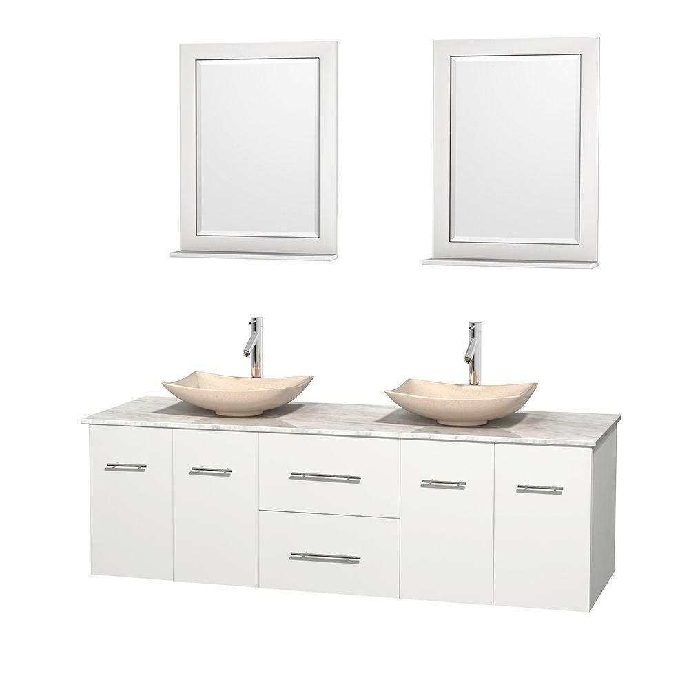 Centra 72-inch W Double Vanity in White with White Top with Ivory Basins and Mirrors
