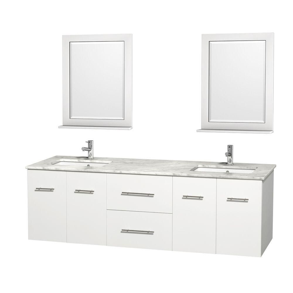 Meuble double Centra 72 po. blanc, comptoir blanc Carrare, lavabo carré, miroir 24 po.