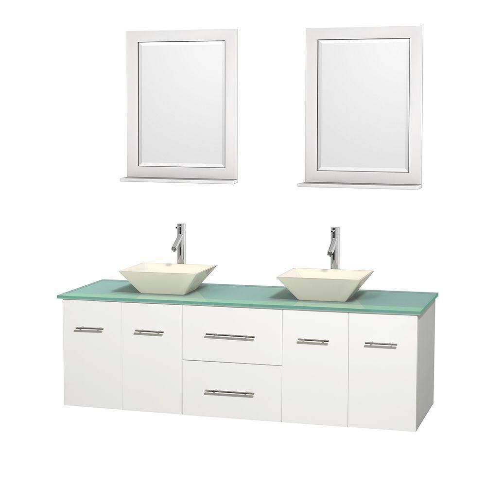 Centra 72-inch W Double Vanity in White with Glass Top with Bone Basins and Mirrors
