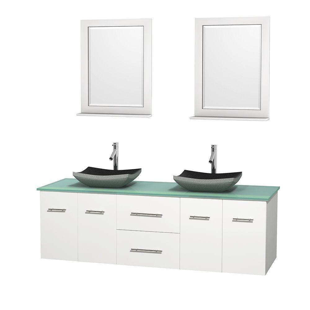 Meuble double Centra 72 po. blanc, comptoir verre vert, lavabos granit noir, miroirs 24 po.
