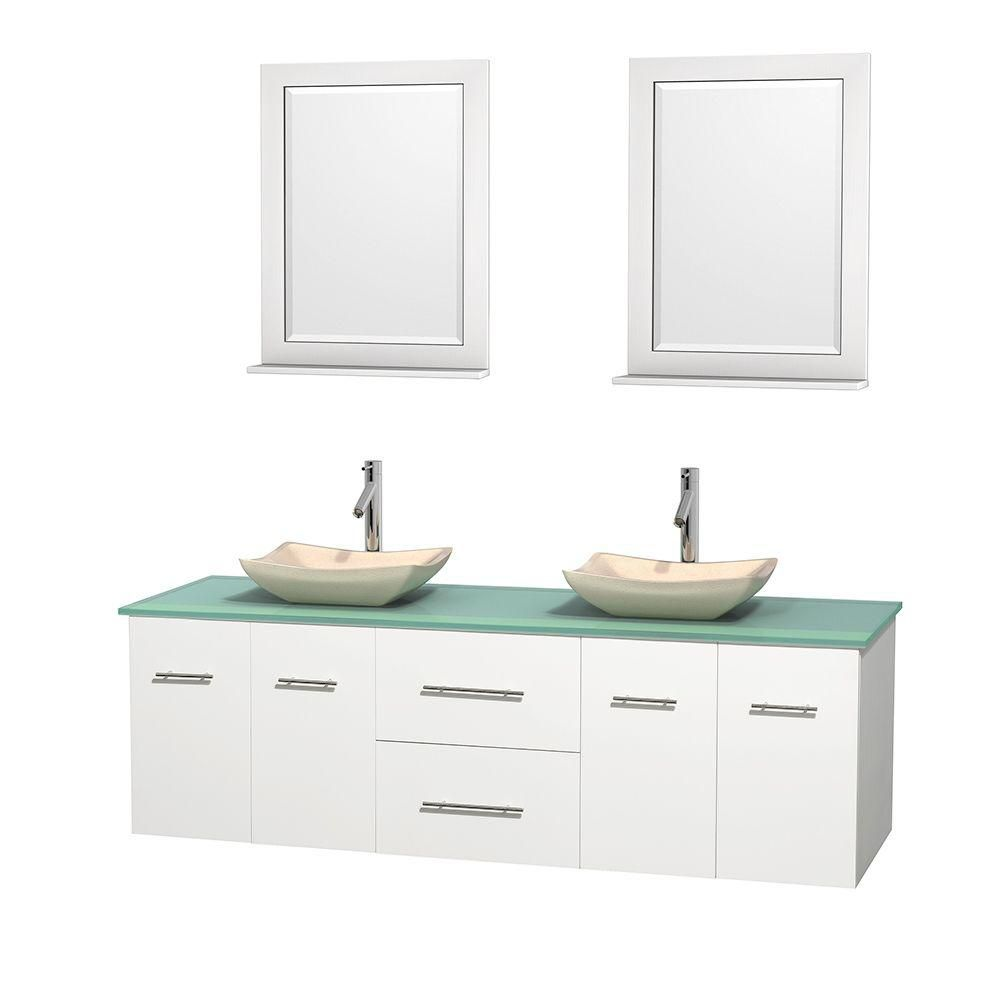 Centra 72-inch W Double Vanity in White with Glass Top with Ivory Basins and Mirrors