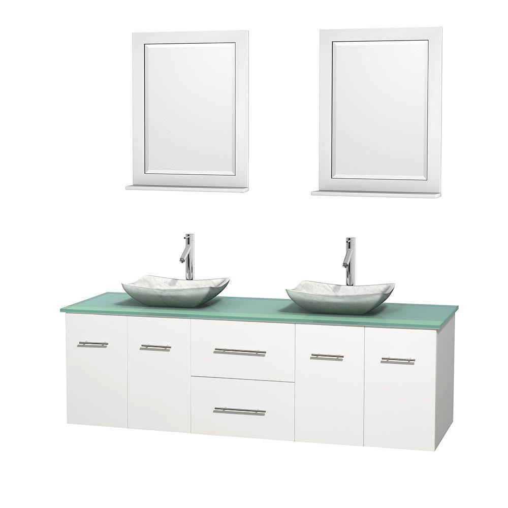 Meuble double Centra 72 po. blanc, comptoir verre vert, lavabos blanc Carrare, miroirs 24 po.