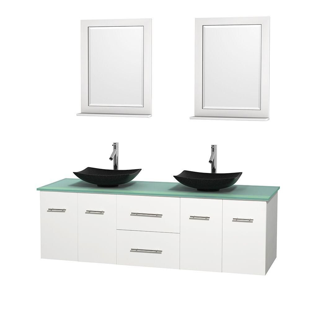 Centra 72-inch W Double Vanity in White with Glass Top with Black Basins and Mirrors