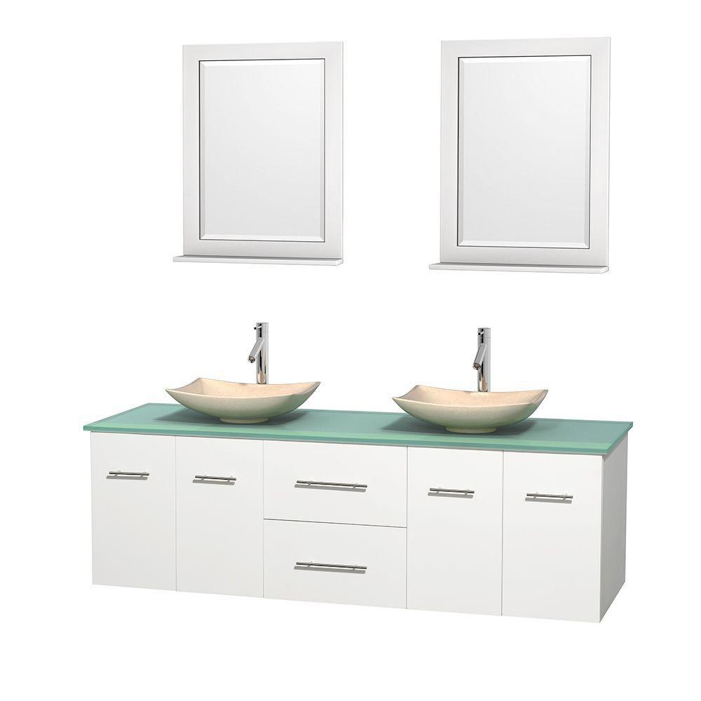 Meuble double Centra 72 po. blanc, comptoir verre vert, lavabos ivoire, miroirs 24 po.