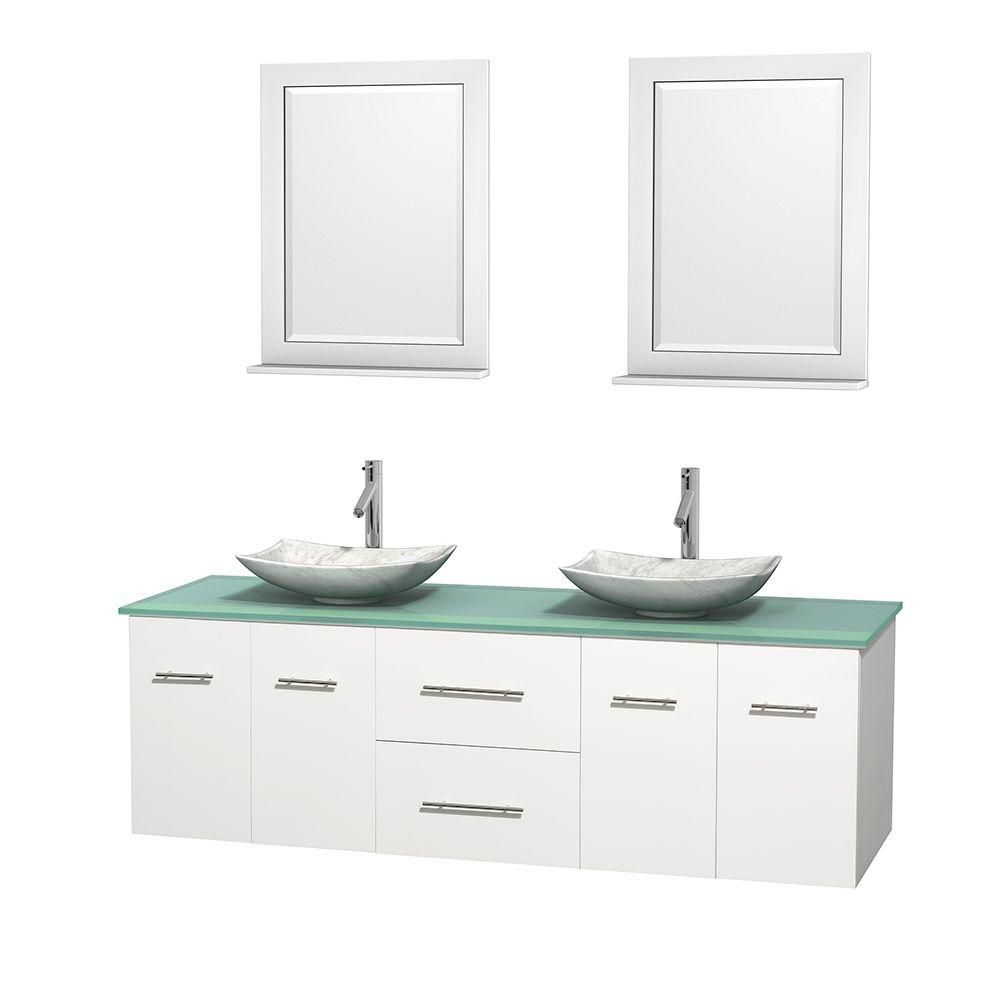 Centra 72-inch W Double Vanity in White with Glass Top with White Basins and Mirrors
