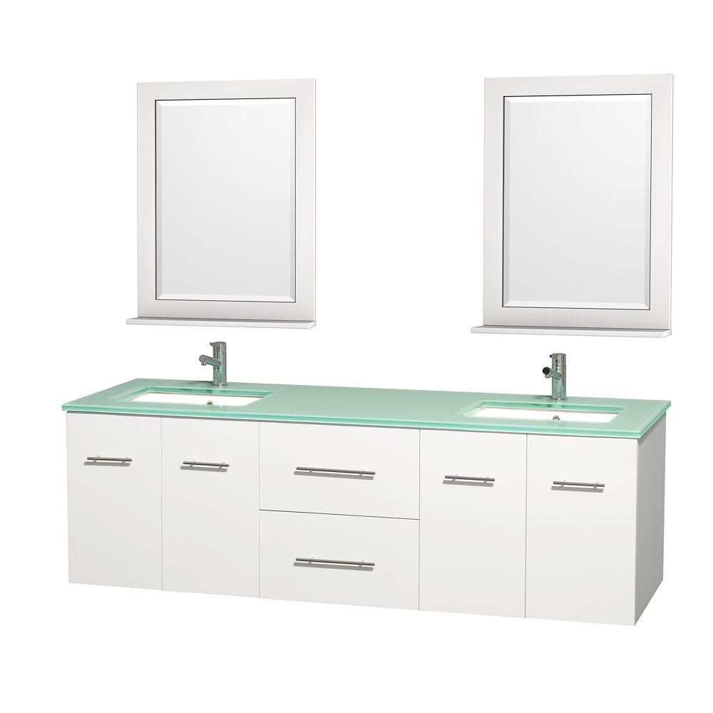 Centra 72-inch W Double Vanity in White with Glass Top with Square Basins and Mirrors