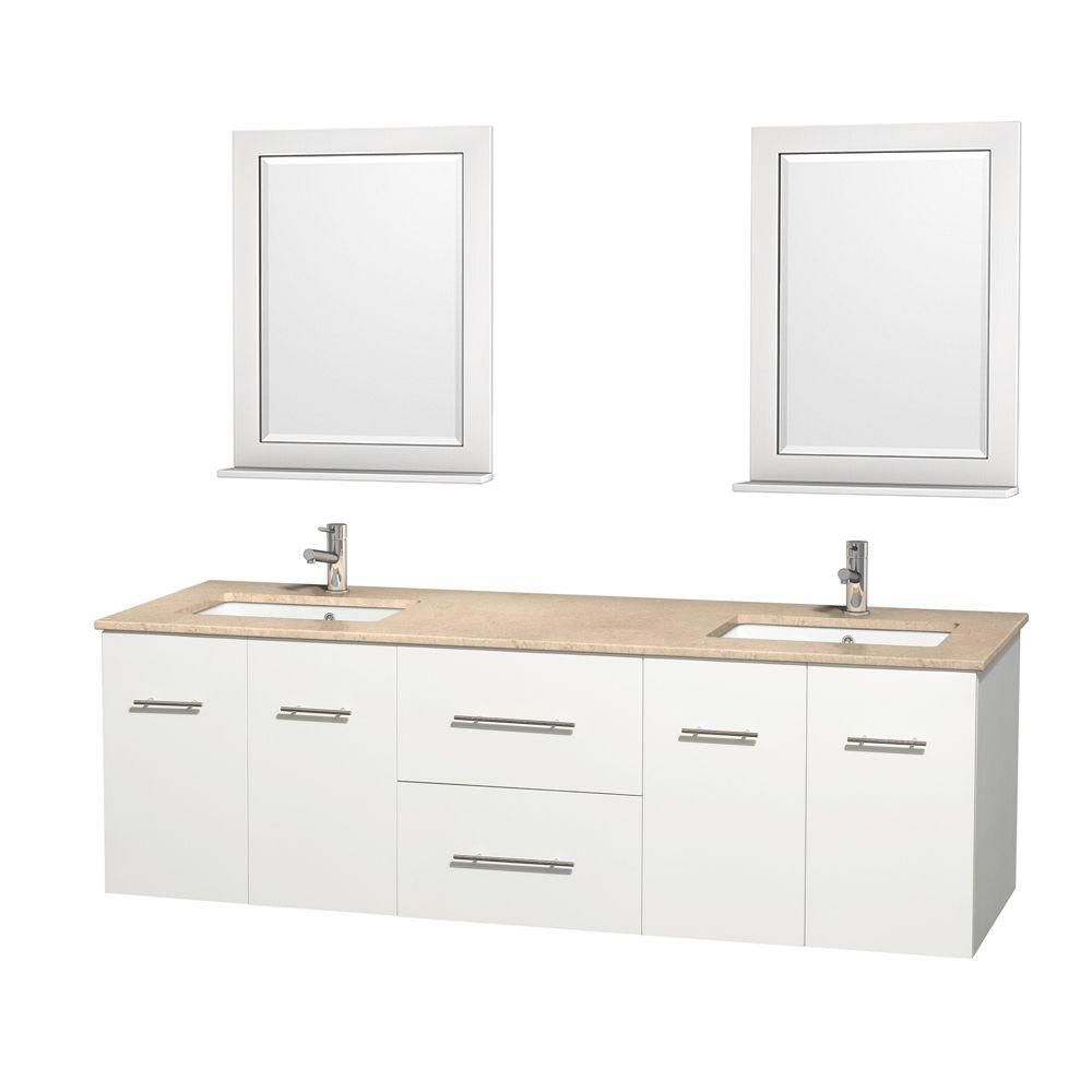 Centra 72-inch W Double Vanity in White with Marble Top in Ivory with Square Basins and Mirrors