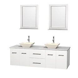 Wyndham Collection Centra 72-inch W 2-Drawer 4-Door Vanity in White With Artificial Stone Top in White, Double Basins