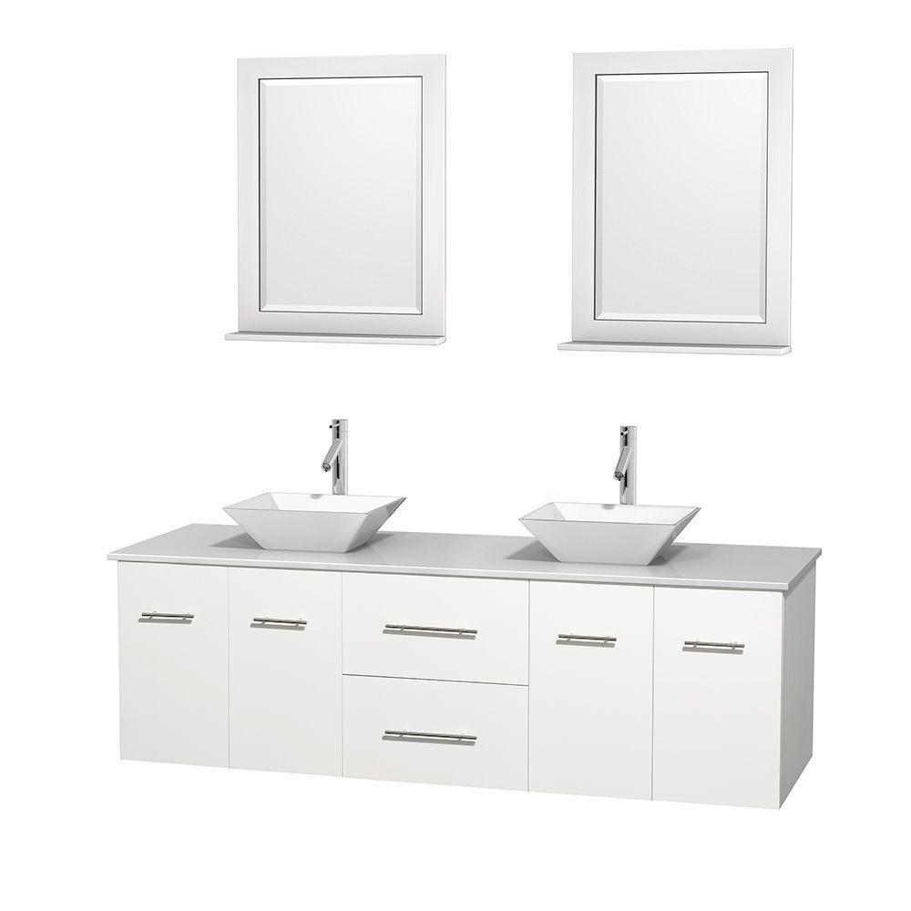 Centra 72-inch W Double Vanity in White with Solid Top with White Basins and Mirrors