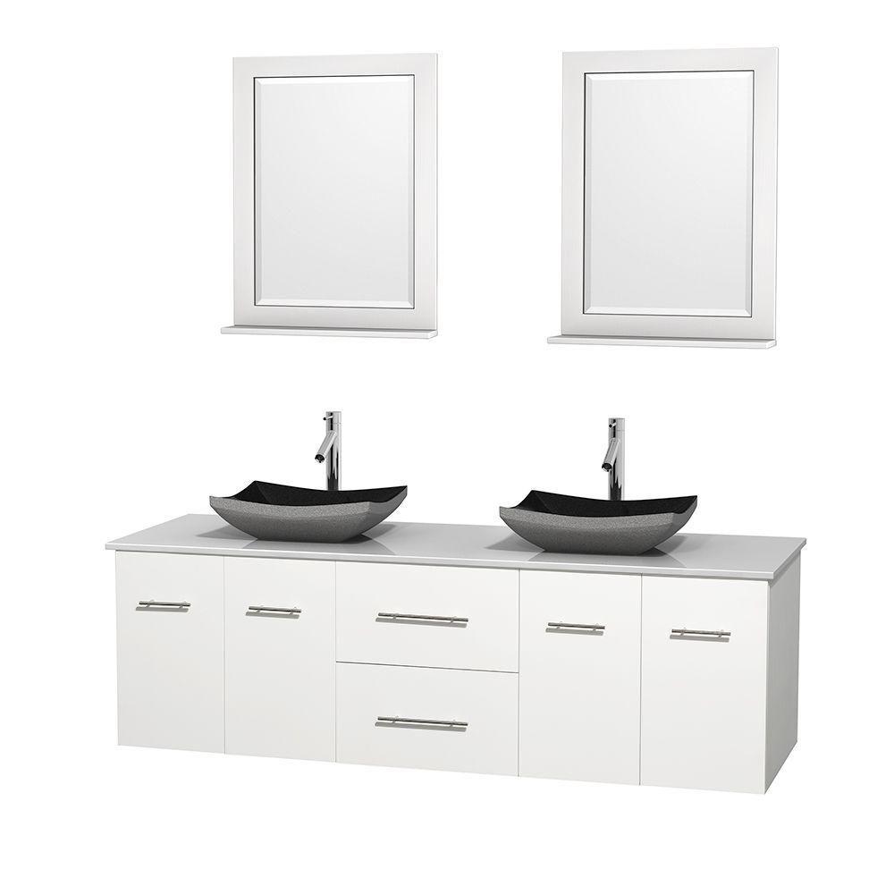 Meuble double Centra 72 po. blanc, comptoir solide, lavabos granit noir, miroirs 24 po.
