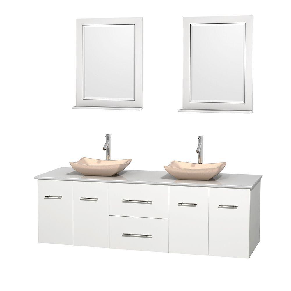 Meuble double Centra 72 po. blanc, comptoir solide, lavabos ivoire, miroirs 24 po.