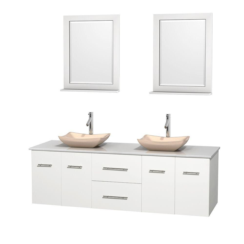 Centra 72-inch W Double Vanity in White with Solid Top with Ivory Basins and Mirrors