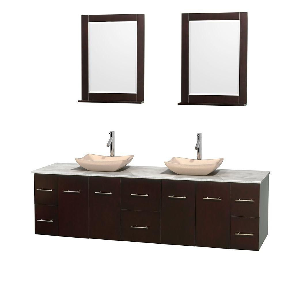 Centra 80-inch W Double Vanity in Espresso with White Top with Ivory Basins and Mirrors