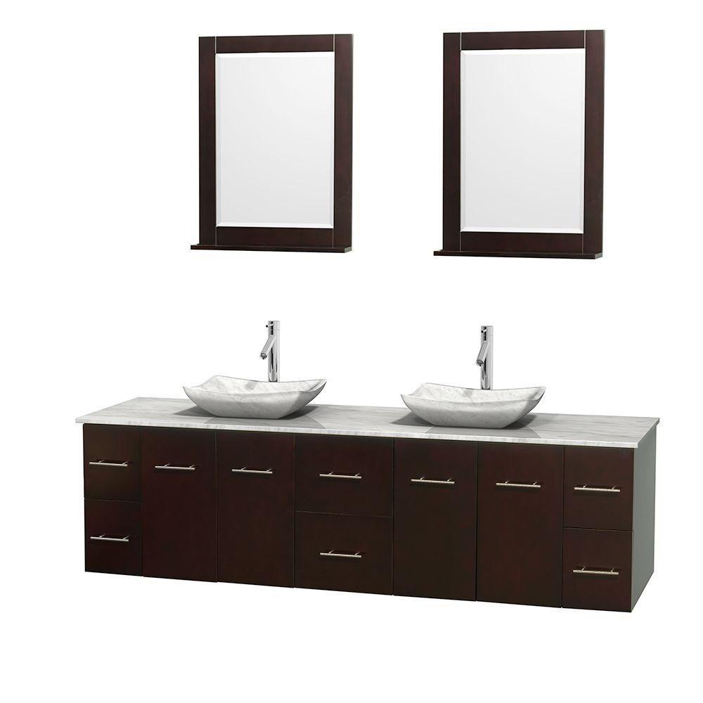 Meuble double Centra 80 po. espresso, comptoir blanc Carrare, lavabos blanc Carrare, miroirs 24 p...