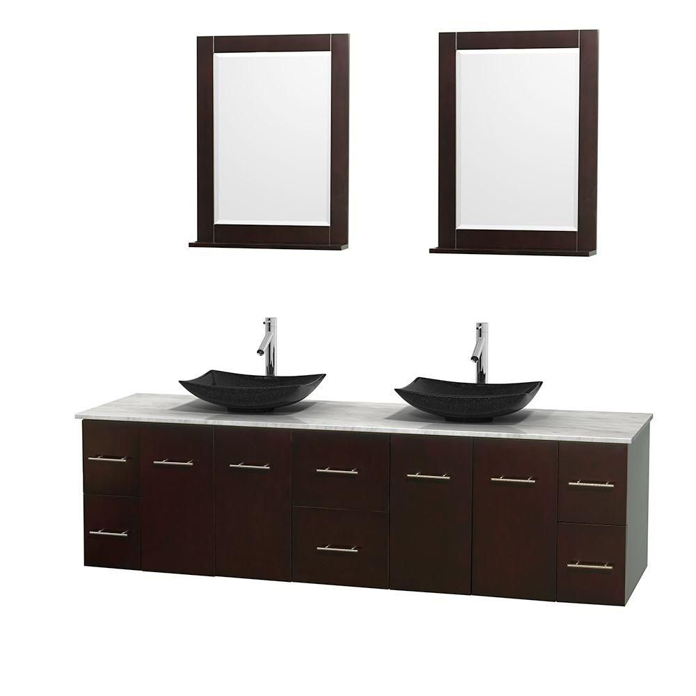 Centra 80-inch W Double Vanity in Espresso with White Top with Black Basins and Mirrors