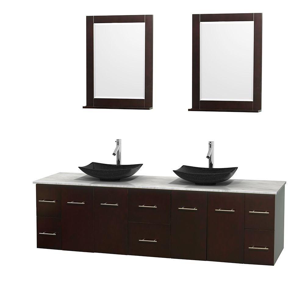 Meuble double Centra 80 po. espresso, comptoir blanc Carrare, lavabos granit noir, miroirs 24 po.
