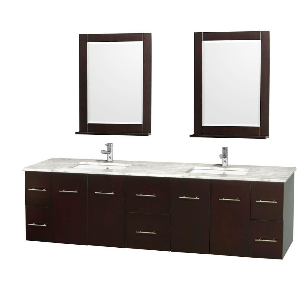Centra 80-inch W Double Vanity in Espresso with White Top with Square Basins and Mirrors