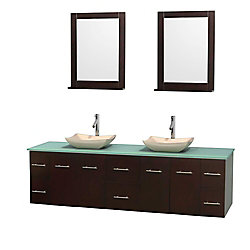 Wyndham Collection Centra 80-inch W 6-Drawer 4-Door Wall Mounted Vanity in Brown With Top in Green, Double Basins