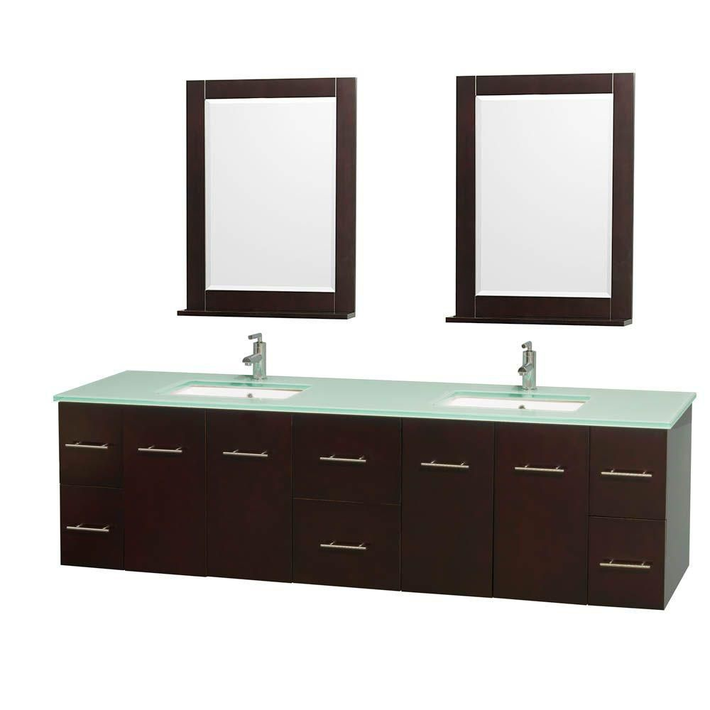 Centra 80-inch W Double Vanity in Espresso with Glass Top with Square Basins and Mirrors