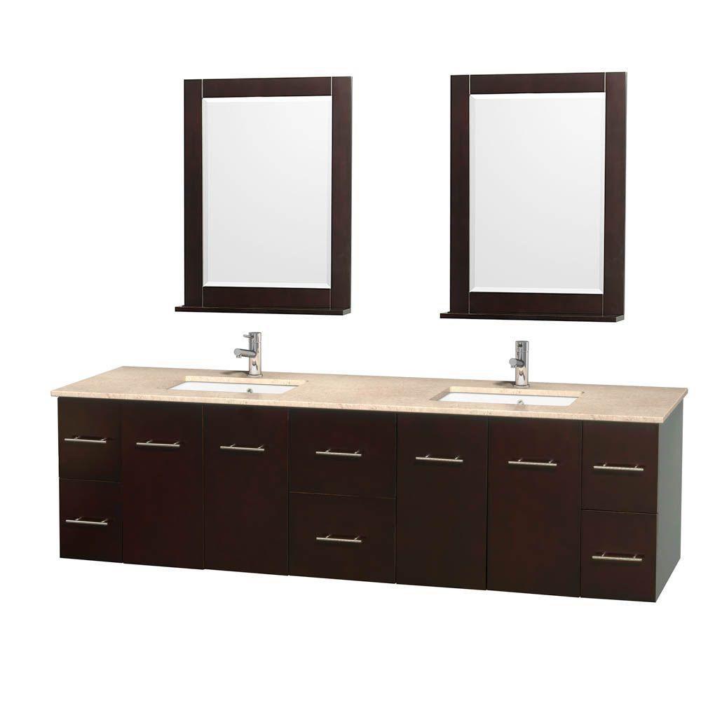 Meuble double Centra 80 po. espresso, comptoir marbre ivoire, lavabo carré, miroir 24 po.